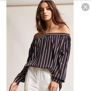Striped off the shoulders top!